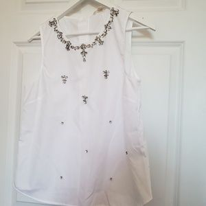 NWT J. CREW white embellished top sz 10